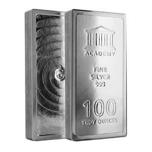 100 oz Academy Stackable Silver Bar .999+ Fine