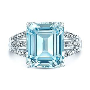Aqua And Diamond Emerald-cut Open Shank Ring In 18k