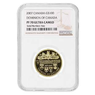 2007 Dominion of Canada $100 Proof Gold Coin NGC PF 70