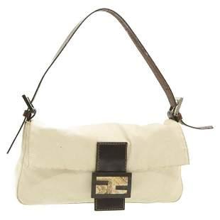Authentic FENDI BAGUETTE Canvas Shoulder Bag