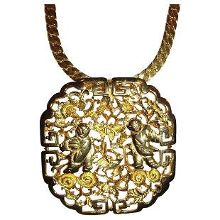 Authentic JUDITH LEIBER Chinese Motif Pendant Necklace
