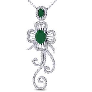 5.85 ctw Emerald & Micro Designer VS/SI Diamond Earring