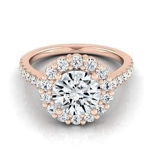 1 1/3ctw Round Diamond Halo Engagement Ring With Pave
