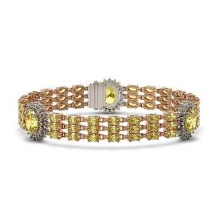 24.46 ctw Citrine & Diamond Bracelet 14K Rose Gold