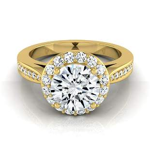 1 1/5ctw Round Diamond Halo Engagement Ring With Pave