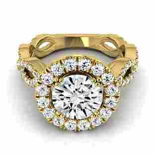 1 4/5ctw Round Diamond Halo Engagement Ring With Ribbon