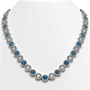 31.18 ctw Blue & Diamond Micro Pave Necklace 18K White