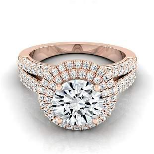1 9/10ctw Round Diamond Double Halo Engagement Ring