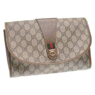 Authentic GUCCI Web Sherry Line GG Canvas Clutch Bag