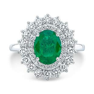 Emerald And Diamond Oval Double Entourage Ring With