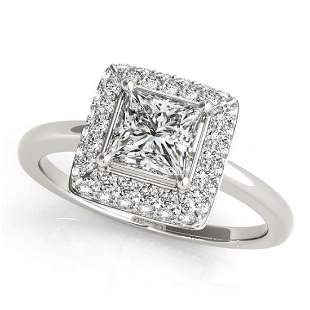 0.8 ctw Certified VS/SI Princess Diamond Halo Ring 14k