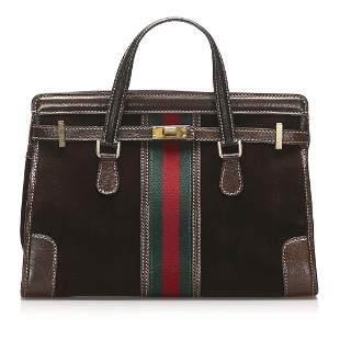 Authentic Gucci Web Suede Tote Bag