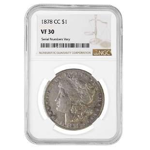 1878-CC Morgan Silver Dollar $1 NGC VF 30