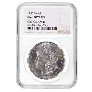 1884-CC Morgan Silver Dollar $1 NGC UNC Details