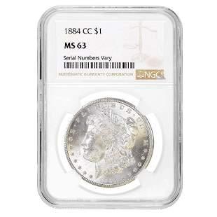1884-CC Morgan Silver Dollar $1 NGC MS 63