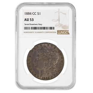 1884-CC Morgan Silver Dollar $1 NGC AU 53
