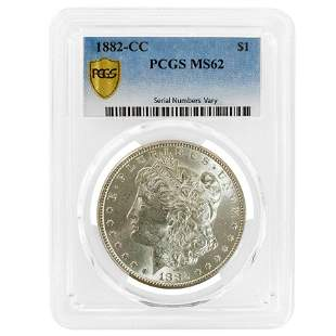 1882-CC Morgan Silver Dollar $1 PCGS MS 62