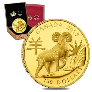 2015 $150 Canadian Year of the Sheep Proof Gold Coin