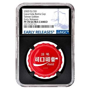 2020 6 gram Fiji Coca-Cola Taiwan Bottle Cap $1 Proof