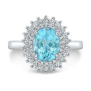 Aqua And Diamond Oval Contrast Entourage Ring With High
