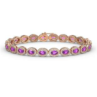 10.05 ctw Amethyst & Diamond Micro Pave Halo Bracelet