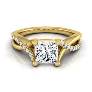 2/3ctw Princess Cut Diamond Engagement Ring With Pave