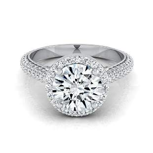 1 4/5ctw Round Diamond Pave Engagement Ring With Triple