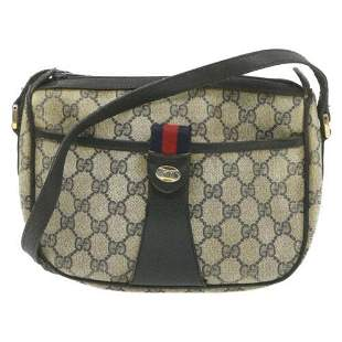 Authentic GUCCI Sherry Line Shoulder Bag Red Navy Beige
