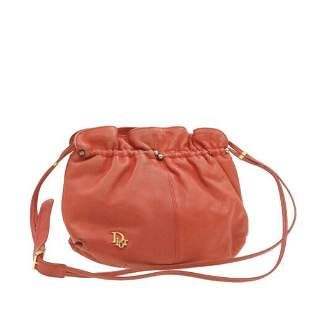 Authentic CHRISTIAN DIOR Leather Shoulder Bag Red