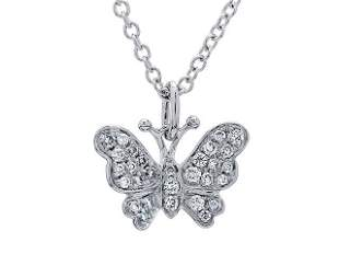 Pave Diamond Butterfly Pendant In 18k White Gold (1/6