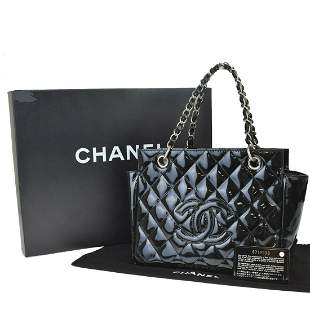 Authentic CHANEL  Petite Shoppers Tote Hand Bag Double