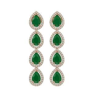 10.2 ctw Emerald & Diamond Micro Pave Halo Earring 10k