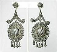 Victorian Cut Steel Chandelier Drop Earrings