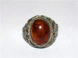 Chinese Sterling Silver Filigree Enamel Baltic Amber