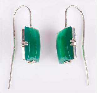 Art Deco Green Chrysoprase Drop Earrings