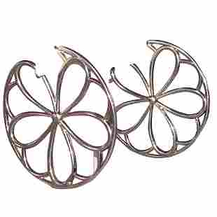 Tiffany & Co Sterling Petal Petals Large Hoop Earrings