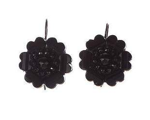 Victorian Jet Flower Dangle Earrings Sterling Silver