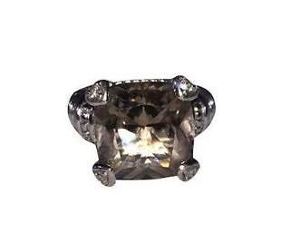 Judith Ripka Sterling Silver Smoky Quartz Diamond