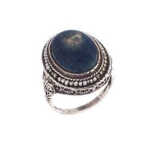 Art Deco Sterling Silver Filigree Sea Pearl and Lapis