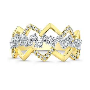 Diamond Criss-cross High-polish Accent Ring In 14k