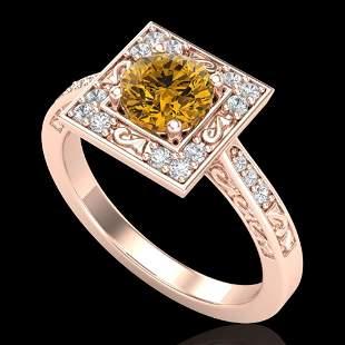 1.1 ctw Intense Fancy Yellow Diamond Art Deco Ring 18k