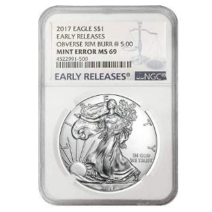 2017 1 oz Silver American Eagle $1 Coin NGC MS 69 ER