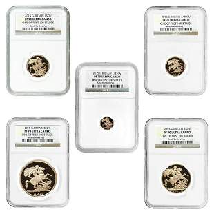 2015 2.0599 oz British Proof Gold Sovereign 5-Coin Set