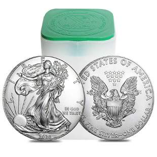 Roll of 20 - 2020 1 oz Silver American Eagle $1 Coin BU