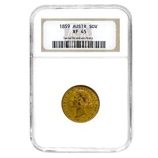 1859 Australia Gold Sovereign Victoria Young Head NGC