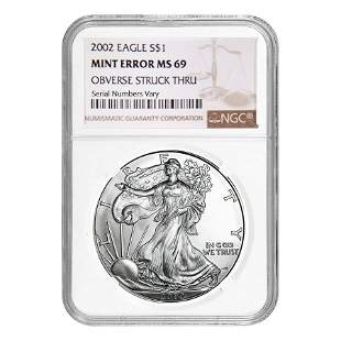 2002 1 oz Silver American Eagle NGC MS 69 Mint Error