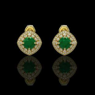 4.99 ctw Certified Emerald & Diamond Victorian Earrings