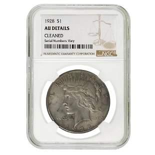 1928 Peace Silver Dollar $1 NGC AU Details