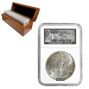 1986-2005 Silver American Eagle 20-Coin Set NGC MS 69