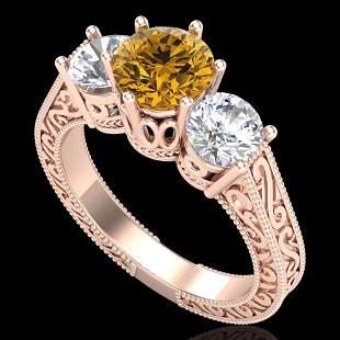 2.01 ctw Intense Fancy Yellow Diamond Art Deco Ring 18k